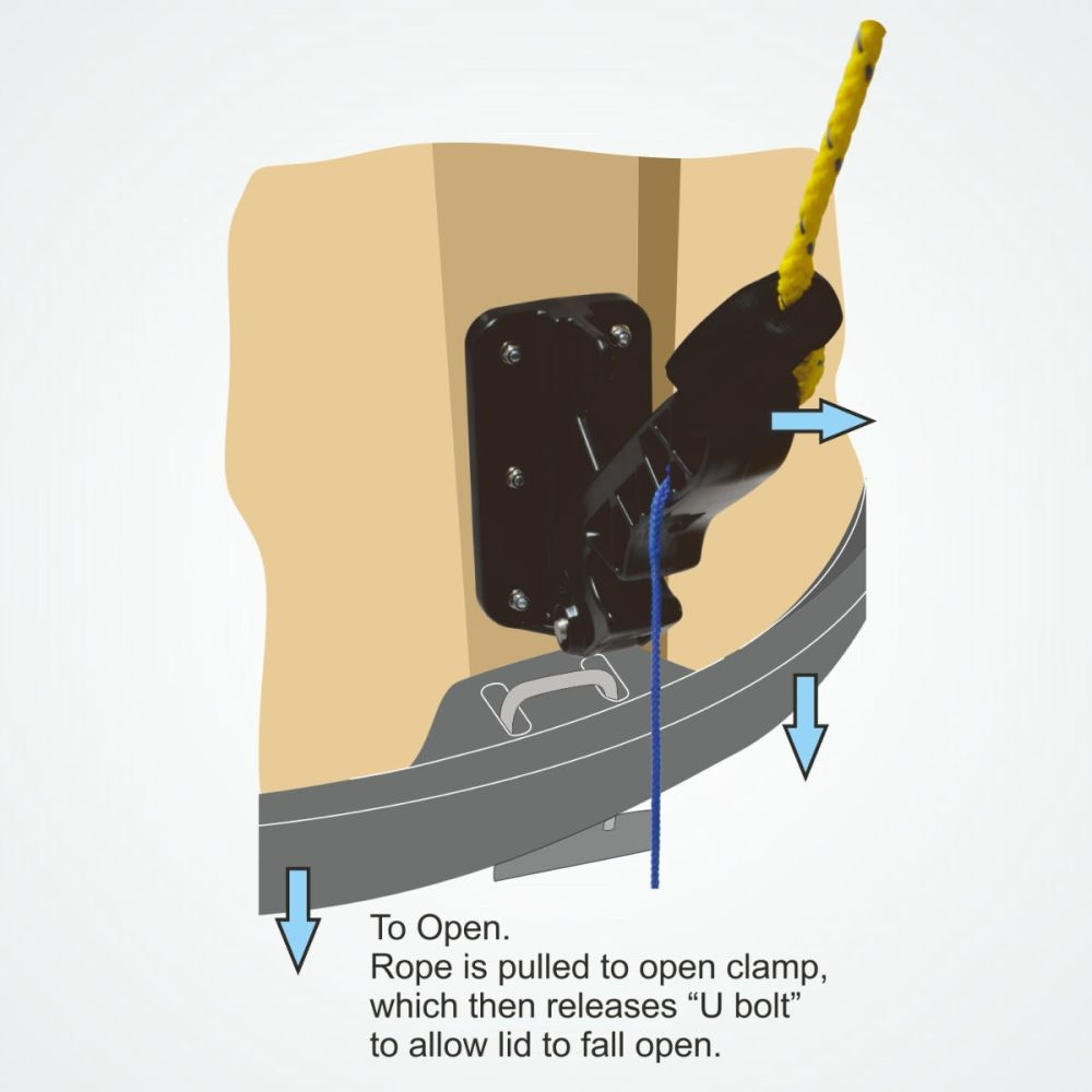 The Clamcleat® PT418 Clamp for semi-buried rubbish containers